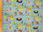 Jungle material Sky Blue - Jersey Fabric 95% Cotton 5% Spandex - Price Per Metre